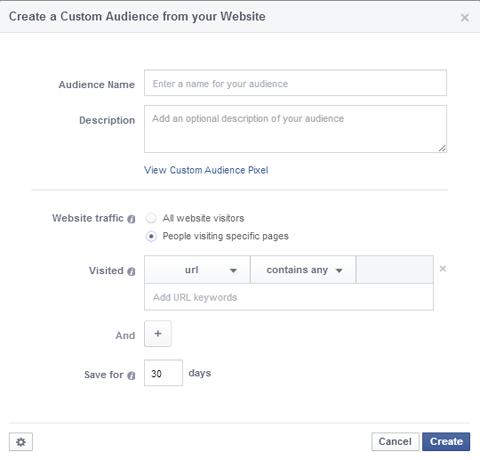 website visitor custom audience set up