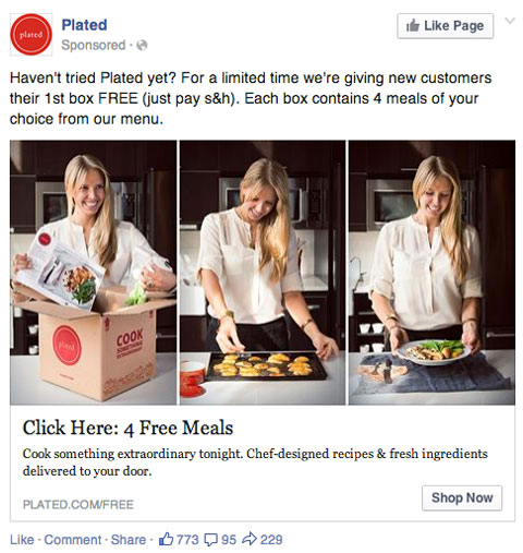 sponsored facebook update from plated