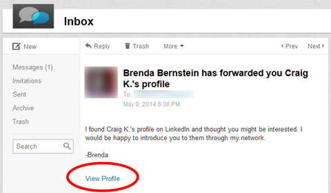 viewing a linkedin profile via inmail