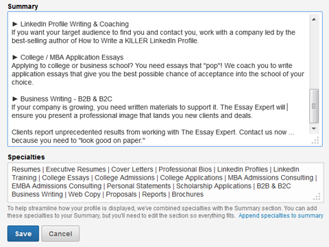 linkedin summary and specialties section