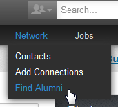 finding alumni on the networking dropdown