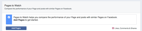 facebook pages to watch section of insights
