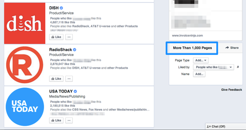 using facebook graph search pages results