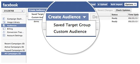 advertise on Facebook - Create Audience screenshot