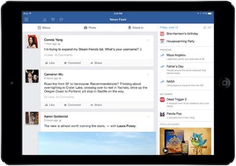 facebook trending sidebar on ipad