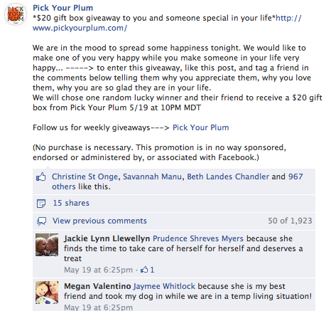 pick your plum facebook discount post