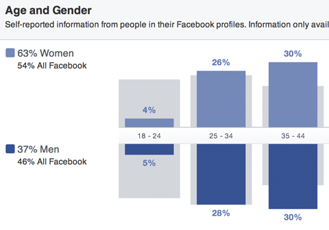 facebook audience insights gender and age breakdown