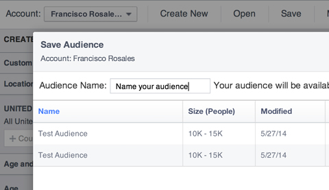 naming a facebook custom audience