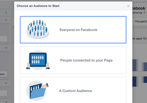 facebook audience insights creation options