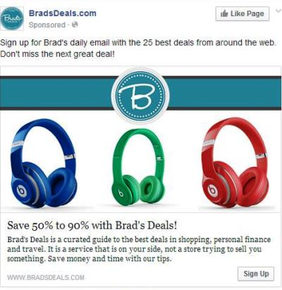 bradsdeals email signup ad