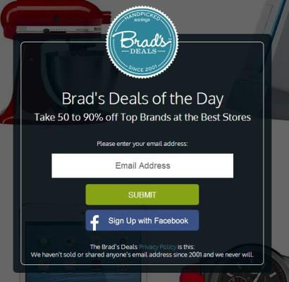 bradsdeals email signup form