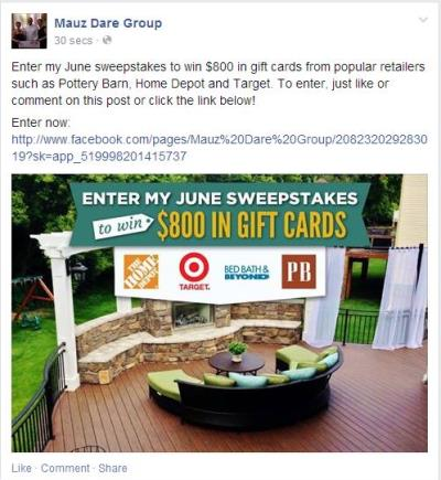 mauz dare group sweepstakes promotion udpate