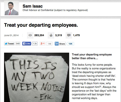 linkedin article with 1400 comments