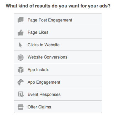 facebook ad goal options