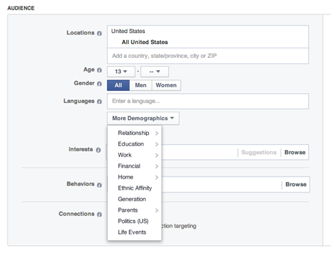choosing a target audience on facebook