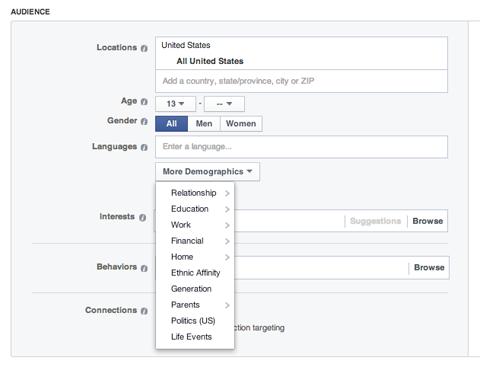 choosing a target audience on facebook