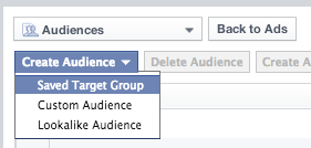 choosing a saved target group on facebook