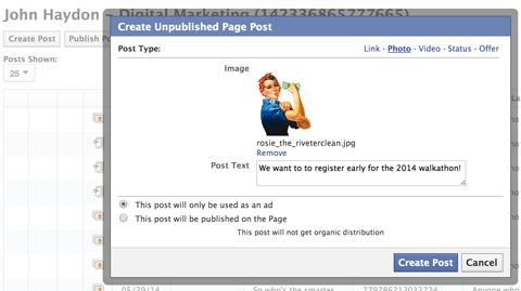 creating a dark facebook post