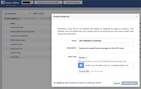 creating a facebook custom audience