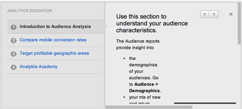 google analytics education tab