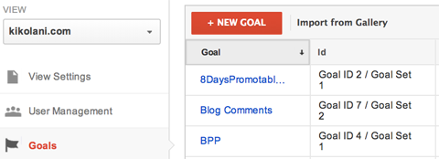 google analytics create a new goal menu