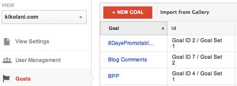 google analytics create a new goal menu