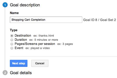 google analytics name a goal