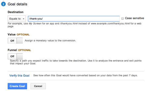 google analytics goal url destination