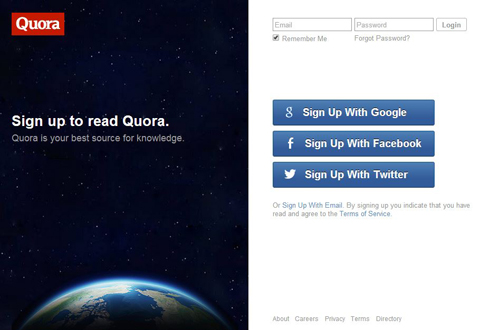 quora sign up