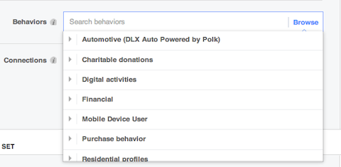 facebook behavior options