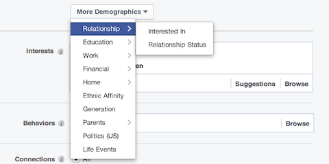 facebook relationship demographic options