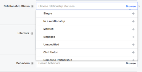 facebook relationship demographic subsets