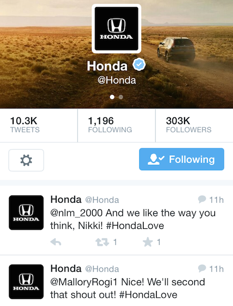 honda customer appreciation tweets