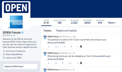 american express open forum twitter profile