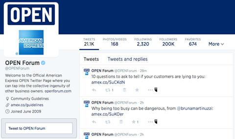 american express open forum twitter profile