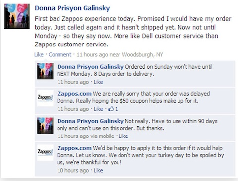 zappos customer reply on facebook