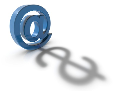 concept for e commerce of a email address symbol and a dollar symbol combined