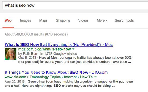 search results with and with out rich snippets