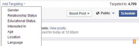 target a scheduled facebook update