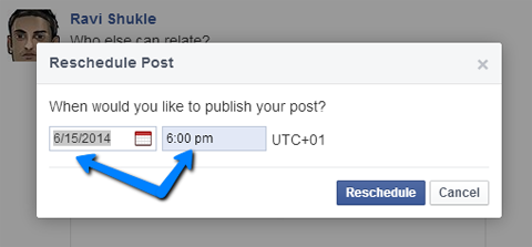 change date and time on a scheduled facebook update