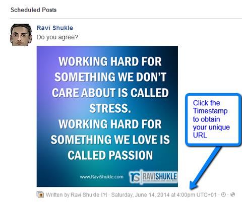 cross promote a scheduled facebook update