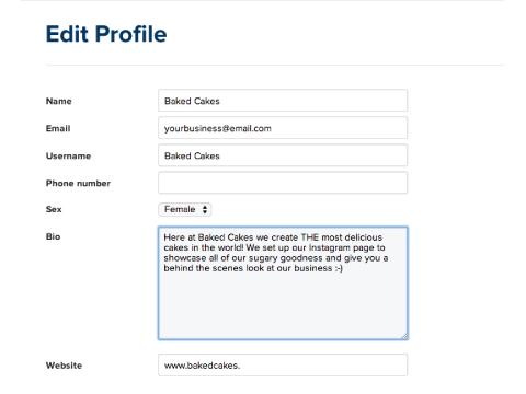 edit your instagram profile bio