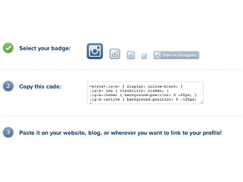add instagram badge code to your website