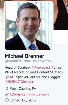 twitter profile bio of michael brenner