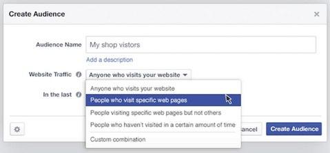facebook create audience website traffic