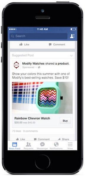 facebook test buy button