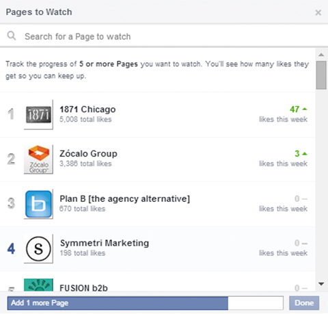 add facebook pages to watch