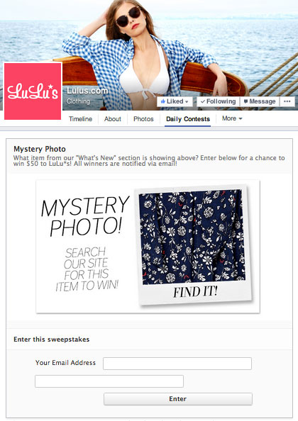 lulu's contest landing page