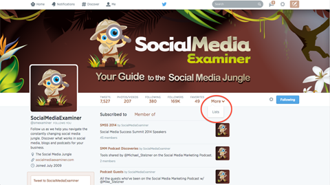 twitter lists shown on social media examiner