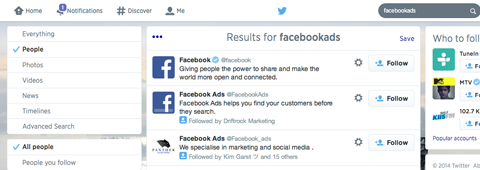 twitter search results for facebookads